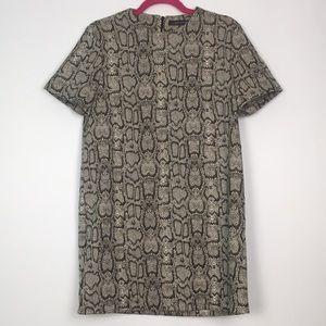 Zara Snake Print Short Sleeve Shift Dress M
